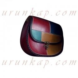 Renkli Tasarımlı Deri Çanta
